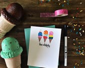 Live Colorfully - Hand brush lettered summer ice cream greeting card - with coordinating envelope