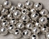 Rustic Antique Silver finish Beads, 7.5mm round -50