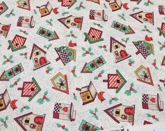 Festive Birdhouse Fabric in Cotton . Holiday Christmas Birds . Adorable Cute . Holly Mistletoe Red Robin Decor
