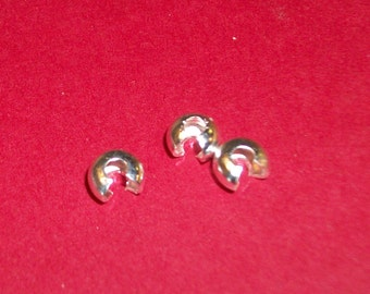 50 Silver plated crimp beads- 4 mm -(50 pieces)
