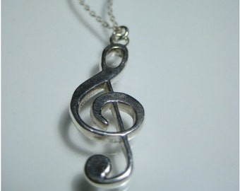 Treble clef necklace sterling silver music necklace music note necklace G clef necklace