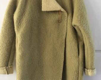 Handmade dekenjas blanketcoat made of a mustard yellow/green wool blanket,  size M/L