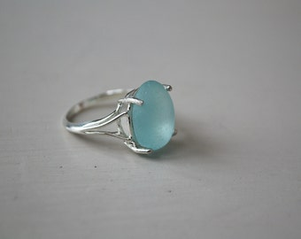 Size 6 Sterling Silver Soft Blue Teardrop  Seaglass Ring From Greece