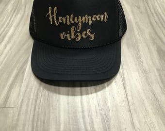 Honeymoon Vibes Trucker Hat Bride Hat Bridal Gift Wedding Gift Women's Trucker Hat Bachelorette Party Wedding Honeymoon Vacation