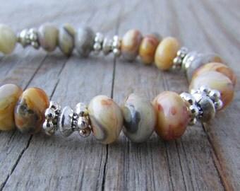 Lace Agate Bracelet, bright, crazy lace agate, adjustable gemstone bracelet