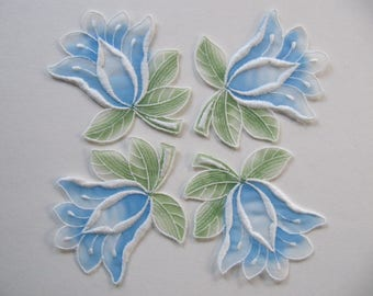 10 blue white green embroidered tulle flower appliques, vintage Swiss sew-on flower appliques, beautiful quality, vintage haberdashery