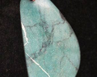 Vintage Turquoise pendant silver wavy bail 63ct