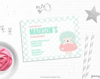 Personalized Printable Hedgehog Invitation - Hedgehog Invite and favor tag or Printable party for First Birthdays or Girls Birthday Parties