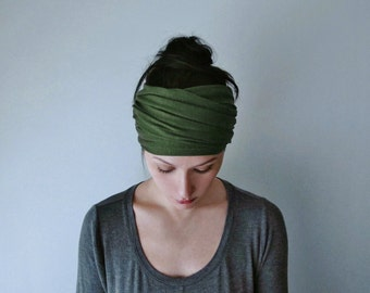 DESERT GREEN Head Scarf - Avocado Green Hair Wrap - Extra Wide Jersey Yoga Headband - Green Boho Hair Accessories