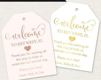 Wedding Welcome Tags - Wedding Welcome Bag Tags - Out of Town Tags - Gift Tags for Wedding Hotel Welcome Bag - Destination Wedding Tags
