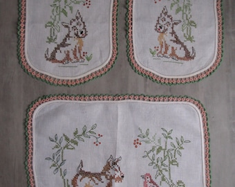 Vintage Cross Stitch DOG Doiley Set of Three