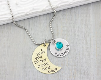 Personalized Jewelry - Personalized Necklace -  Hand Stamped Jewelry - I love you to the moon and back