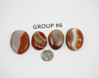 Polished Carnelian Agate Freeform Cabochons Pack of 4 - Group #6