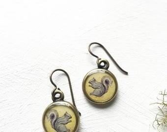 Squirrel Earrings, Handmade Original Art Earrings