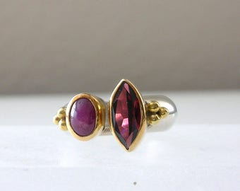 Vintage Ruby and Garnet Ring Size 5 Ring Silver Ring Pinkie Ring Sterling Silver 18Kt Gold Ring Ruby Faceted Garnet Gemstone RingFREE US