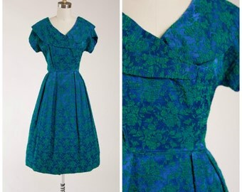 Vintage 1950s Dress • Be Your Girl • Blue Green Brocade 50s Party Dress Size Small
