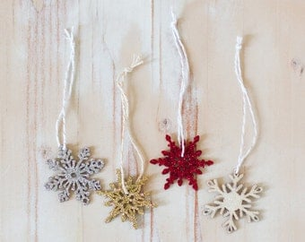 Glitter Wood Snowflake Tags with Twine - Choose your color: Gold / Red / Silver / Iridescent White - 4 pc / 8 pc - 1.75""