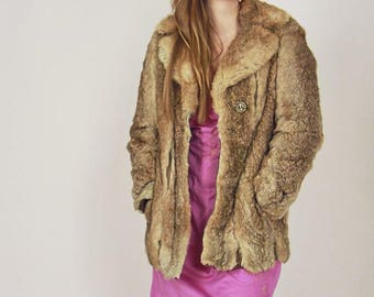 Vintage 60s Caramel Rabbit Fur Coat