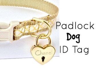 Dog Collar ID, Heart Padlock, Dog ID TAG