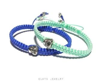 2 Buddha Bracelets, Couples Set, Matching Couples Bracelets, Mens Buddha Bracelet, Macrame Bracelet, Yoga Bracelet, Buddhist Bracelet