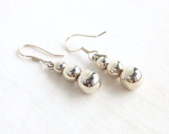 Bench Bead Dangle Earrings Vintage Mexican Sterling Silver Beaded Dangles Southwestern Jewelry Made in Mexico