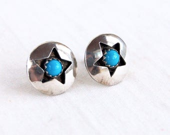 Turquoise Star Earrings Vintage Sterling Silver Shadow Box Blue Posts Studs Southwestern Shadowbox Jewelry
