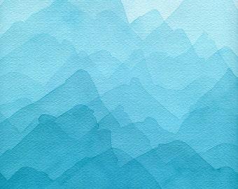 Original Abstract Painting. Blue mountain watercolor painting. Original Watercolor Painting. Modern art. Original artwork