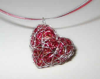 Red heart necklace Heart jewelry Wire heart sculpture Red necklace Heart pendant Boho jewelry Unique necklaces for women Mothers day gift