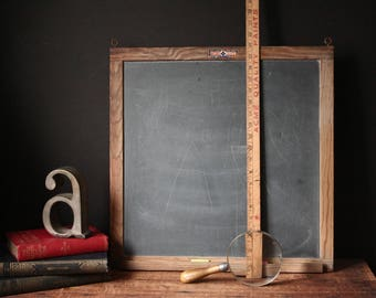 Vintage slate chalkboard, two-sided framed chalkboard, real slate, memo board