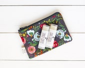 Holiday Lip Balm Gift Set, Stocking Stuffer, Lip Balm, Lip Scrub, Gray Floral Zipper Pouch, Gift For Her, Gift, Bath and Body,  Make Up
