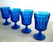 Vintage Blue Pedestal Drinking Glasses Retro Dining Barware set 4