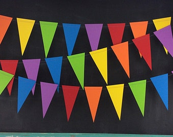 Rainbows 10ft. Pennant: Rainbow Garland, 1st Birthday Girl, 1st Birthday Boy, Photo Backdrop, Art Birthday Party, Rainbow Birthday Party