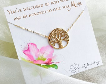 Mother in law gift from bride, Mother of the Groom gift, large family tree necklace, necklace for mother of groom, otis b