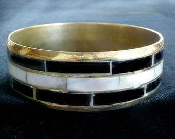 Vintage Bangle Bracelet Mother of Pearl & Brass Unique
