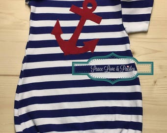 Nautical Baby Gown, Navy Blue and Red Anchor, Newborn Gown, Infant Gown, Going Home Outfit, Baby Shower Gift, Sailor Baby, Blue Striped Gown