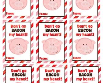 Pig Valentine's Day Cards (set of 9) , Valentine's Day Cards, Printable,Instant Download, Digital