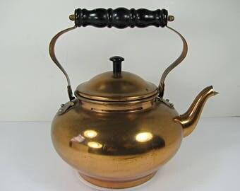 Vintage COPPER TEA KETTLE Round w/ Brass Trim & Folding Handle