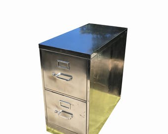 Vintage file cabinet,  metal, brushed and polished steel  cabinet with two drawers and silver hardware made to order