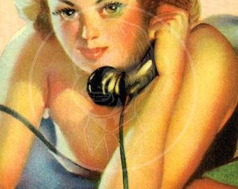 Number Please - 10x16 Giclée Canvas Print of Vintage Pinup Postcard