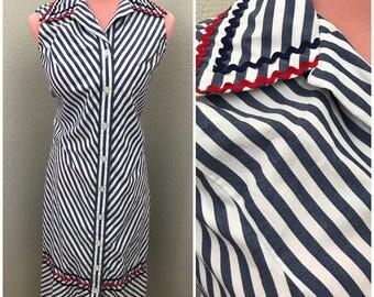 Retro navy blue stripe 60s cotton maxi dress size medium
