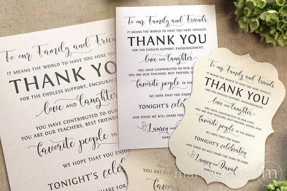 Wedding Reception Thank You Card To Your Guests Our