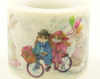 Rabbit couple - Japanese Washi Sticker Tape - 30mm wide - 5.5 yard