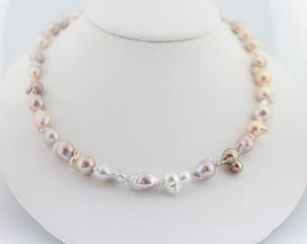 Flameball pearl necklace, hand knotted, nucleated, petite fireball pearls, handcrafted, gold: Simply Adorned