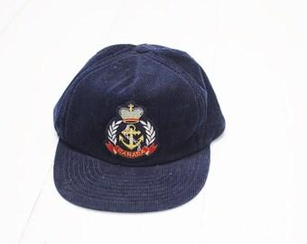 Vintage Canada Navy Blue Corduroy Cap, Size Medium/Large / ITEM666