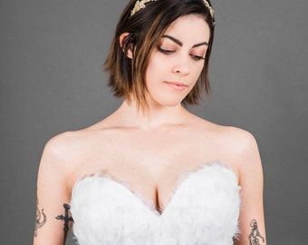 White Feather Bridal Couture Wedding Corset Top