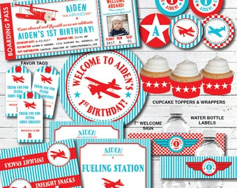 Airplane Birthday Decorations, Airplane Birthday Invitation, Airplane Party Decorations, Vintage Airplane Birthday, Printable PDF Files