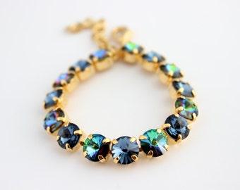 Swarovski bracelet, Denim Blue bracelet, Blue Swarovski bracelet, Rhinestone bracelet, Swarovski blue, Rivoli bracelet bridesmaid bracelet