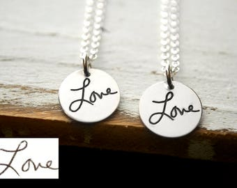 Custom Handwriting Necklace - Engraved Jewelry