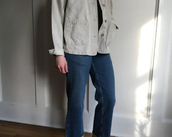 vintage ecru linen button down jacket - small