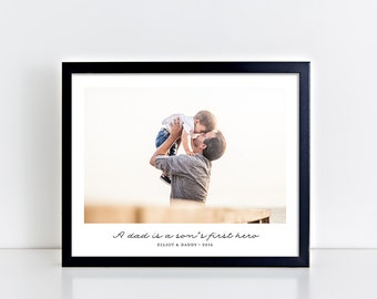 Gift for Dad, Personalized Gift for Dad, Christmas Gift from Son, Superhero Print, Photo Gift Father Son, Dad Gift, Father's Day Gift